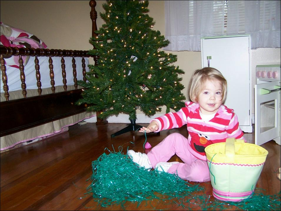 ivy, christmas with the easter basket