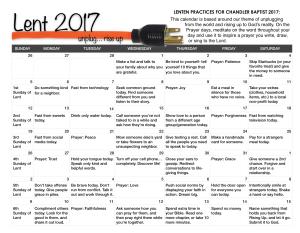 Chandlers Lent Calendar